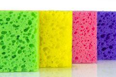 Colorful colored sponges on a white background Stock Photo