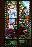 Colorful colorful glass in the church. Stock Photo