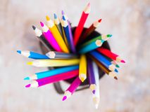 Colorful colorife in a glass, top view stock photos