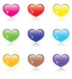 Colorful (colourful) hearts. 9 differently coloured glass hearts on a white background vector illustration