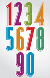 Colorful comic animated tall numbers with white outline Stock Photos