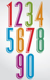 Colorful comic animated tall numbers with white outline Stock Image