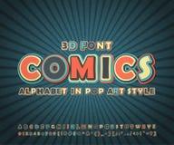 Colorful comic font, alphabet. Comics book, pop art. Colorful high detail comic font on comic book page. Alphabet in style of comics, pop art. Multilayer funny Stock Images