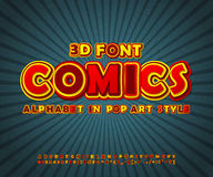 Colorful comic font, alphabet. Comics book, pop art. Yellow-red high detail comic font on comic book page. Alphabet in style of comics, pop art. Multilayer funny Stock Photography