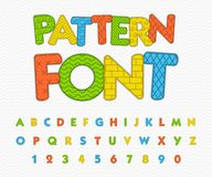 Colorful comic font. Funny alphabet with different patterns. Royalty Free Stock Photos