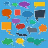 Colorful Comic Speech Bubbles on Blue Background. Colorful Comic Speech Bubbles with shadow Stock Photography