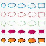Colorful comic speech bubbles set (collection). Different styles. Isolated elements. White background Vector Illustration