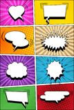 Colorful comic vertical background. With blank white speech bubbles in pop-art style. Rays, sound, radial, halftone, dotted effects in different colors. Vector Stock Images
