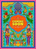 Colorful Coming Soon banner in truck art kitsch style of India. Illustration of colorful Coming Soon banner in truck art kitsch style of India Stock Photo