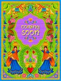 Colorful Coming Soon banner in truck art kitsch style of India. Illustration of colorful Coming Soon banner in truck art kitsch style of India Royalty Free Stock Photo