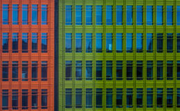 Colorful commercial buildings. Close up of colorful modern commercial architecture in London, UK Royalty Free Stock Photo