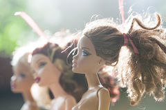 Colorful composition with Barbie dolls Stock Photos