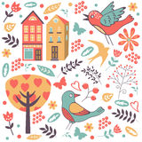 Colorful composition with birds, flowers and Royalty Free Stock Image