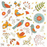 Colorful composition with birds and  flowers Royalty Free Stock Photo