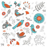 Colorful composition with birds and  flowers Royalty Free Stock Photos