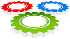 Colorful Composition of 3d Gears, cogwheels, gearwheels or cogs Stock Photo