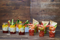 Colorful composition of different tasty appetizers presented in Stock Images