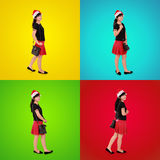 Colorful composition of stylish Xmas girl Stock Images