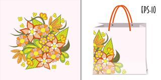 Colorful composition of the summer flowers and packing mockup Stock Photo