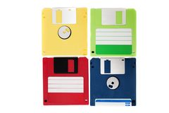 Colorful floppy disks Stock Photos