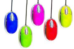 Colorful computer mouse Stock Photos