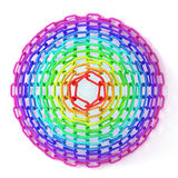 Colorful concentric circles made of chain. Top view of cone Stock Photos