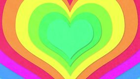 Colorful concentric hearts. Animation loop stock footage