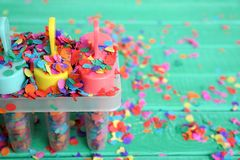Colorful concept or background for children`s party, summer or holiday. Festive concept with text space Royalty Free Stock Photography