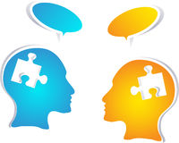 Colorful concept people with speech bubbles. This bright vector illustration shows communication in the area of business, teamwork, medicine, psychology, or Royalty Free Stock Photo