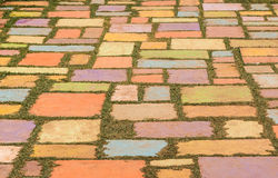 Colorful concrete floor on green grass Stock Photography
