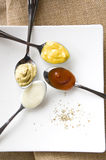 Colorful condiments on spoon Royalty Free Stock Image