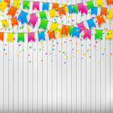 Colorful Confetti And Party Flags On White Wall Background. Stock Photo