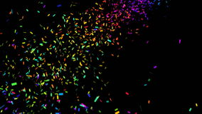 Colorful confetti. Animation of colorful confetti on black background