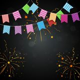 Colorful confetti background with bunting flags. Illustration of Colorful confetti background with bunting flags Stock Image