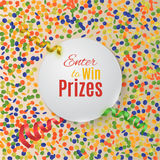 Colorful confetti background with round plate. Stock Photo