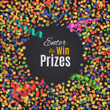 Colorful confetti background with round plate. Enter to Win Prizes. Vector Illustration Royalty Free Stock Image