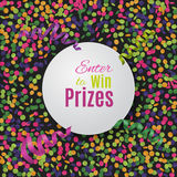 Colorful confetti background with round plate. Royalty Free Stock Image