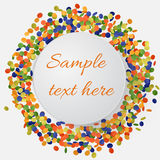 Colorful confetti background with round plate. Vector Illustration Stock Images