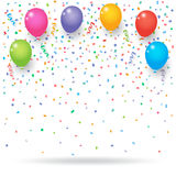 Colorful confetti with balloons and ribbons Royalty Free Stock Photo