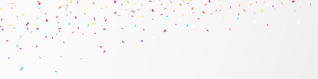 Colorful confetti banner, isolated on white background. Illustration of Colorful confetti banner , isolated on white background Stock Photography