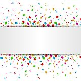 Colorful Confetti banner with place for text isolated on white background. Illustration of Colorful Confetti banner with place for text isolated on white Stock Photos