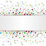 Colorful Confetti banner with place for text isolated on white background. Illustration of Colorful Confetti banner with place for text isolated on white Royalty Free Stock Photography