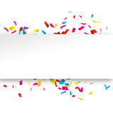 Colorful Confetti banner  on white. Confetti explosion banner with place for text.  Royalty Free Stock Photos