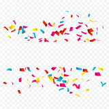 Colorful Confetti banner  on white. Confetti explosion banner with place for text on transparent.  Stock Photography