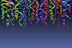 Colorful confetti on blue background. Celebration template ribbons. Vector illustration Stock Photography