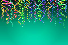 Colorful confetti on blue background. Celebration template ribbons. Vector illustration Stock Photo