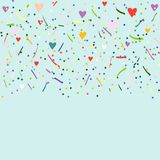 Colorful confetti on blue background Royalty Free Stock Photo