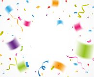 Colorful confetti, for celebration background with ribbon Royalty Free Stock Image