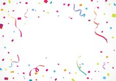 Colorful confetti, for celebration background with ribbon Royalty Free Stock Photos