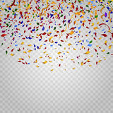 Colorful confetti on checkered background. Vector template Stock Photo